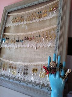 earring organizer with lovely lace