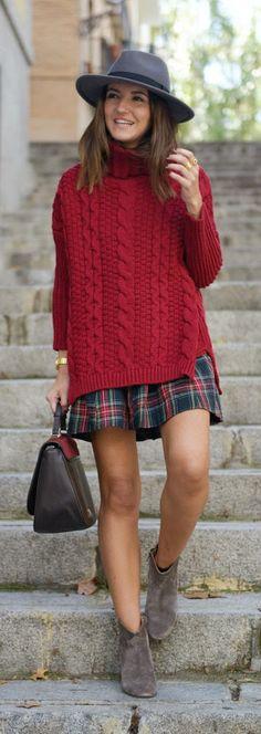 Burgundy sweater + plaid.