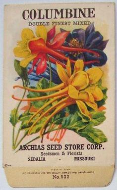ARCHIAS SEED STORE,  Columbine 532, Vintage Seed Packet, 1920'