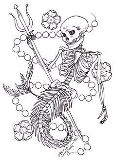 Skeleton Mermaid Tattoo Design by ~lauren-draghetti on deviantART Key Tattoos, Pearls, Mermaid Tattoos, Mermaid Skeletons, Skeletons Mermaid Tattoo, Skeletons Keys, Keys Tattoo, Heart Tattoos, Mermaid Tattoo Designs