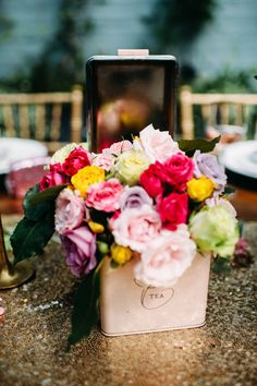 boxed centerpiece, photo by Jessica Oh Photography http://ruffledblog.com/punk-rock-bridal-shower #weddingideas #flowers #centerpieces