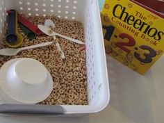 Perfect sesonry activity to go with the Cheerio counting book we have in the infant/toddler room