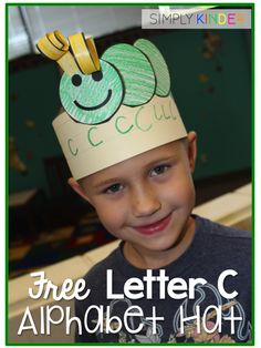Alphabet hats are a fun way to get the kids to remember the letters!  Download letter c for free at Simply Kinder!