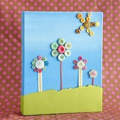 button flower craft for littles