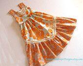 Aqua and Orange Girls Dress. $68.00, via Etsy.