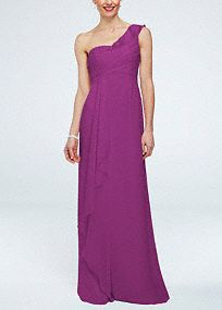 Delicate and stylish, this feminine crinkle chiffon bridesmaid dress was designed with ethereal beauty in mind!  One shoulder bodice features cascading detailing on bust.  Front cascading accent creates movement while leg slit adds drama for a flawless finish.  Fully lined. Back zip. Imported polyester. Dry clean. To protect your dress, try our Non Woven Garment Bag.