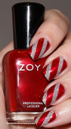 christmas #nail #nails #nailart I would like this just on 1 nail... and the rest just red or just silver