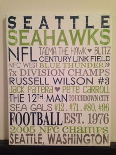 Subway Art - Seattle Seahawks. NFL. Football 'Rustic' Looking Canvas.Home Decor Sign. Man Cave. on Etsy, $30.00