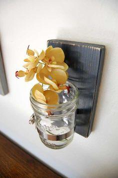 Wood + mason jar wall-hanging vase. Masculine, yet sensitive. jar vase, canning jars, hous, mason jars