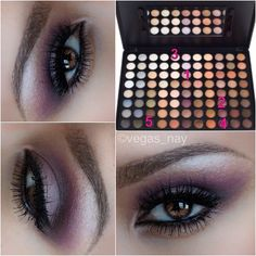 1.) first apply color #1 on entire lid 2.) apply color #2 directly over color #1 3.) color #3 on brow bone & blend color #4 throughout crease and blend up to highlight so colors softly merge 4.) add color #5 in V and blend well for an added depth 5.) wet liner brush and dip in color #5 to line top/bottom lash line; this will create a softer black effect..