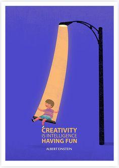 Creativity is Intelligence Having Fun- Illustration, Albert Einstein quote art print. via Etsy