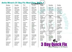 Here is my week 3 meal plan along with the 3 Day Quick Fix! Follow me on Facebook! www.facebook.com/fitwithanita