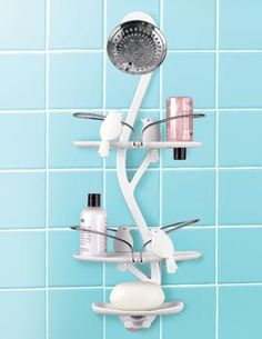 Much cuter than the usual wire shower hanging shelves