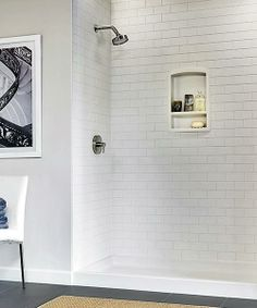 """""""Tile"""" a new shower without breaking a sweat or dealing with grout. A set of Subway Tile Walls, in mold-resistant polymer, includes three 36-by-72-inch glue-in-place panels. From $1,037; swanstone.com for stores. 