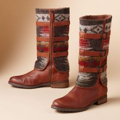 SADDLE BLANKET BOOTS -- Greater than the sum of its parts: USA-made Woolrich® wool and burnished leather in boots with incomparable cool. Inside zipper. Lugged sole. Imported. Whole and half sizes 6 to 10, 11.