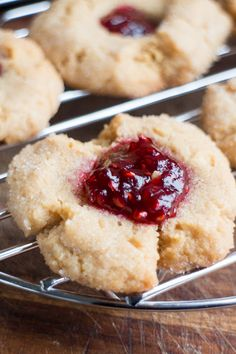 Peanut Butter Blossom Cookies with Raspberry Jam
