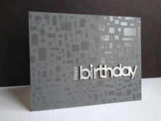 Birthday card with a new SSS stencil, embossing paste, a sheet of metal and a die...oh and a piece of a stamp, too...
