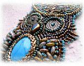 beadwork inspir, bdid critter, owl art, jewelri idea, bead embroideri, bead pin, bead art