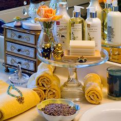use a footed cake plate in bathroom for soap, lotion, etc.