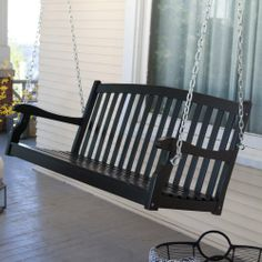 Coral Coast Pleasant Bay Curved Back Porch Swing - Black - Hayneedle