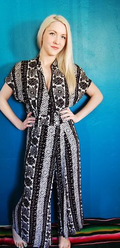 Palazzo Jumpsuit  Black and White Batik