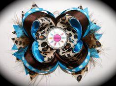 Daisy Scouts Blue Cheetah Hair bow