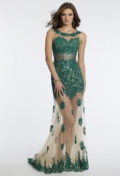 Camille La Vie Illusion Prom Dress with Beaded Bodice