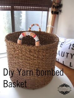 DIY yarn bombed basket {decorative basket idea}
