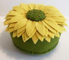 Felt sunflower pincushion