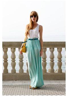 Shop this look on Kaleidoscope (tank, skirt, purse, sunglasses, belt)  http://kalei.do/WHg1JRaLaGIg4off