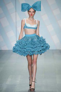 crochet ruffles on a petticoat-style skirt at Sibling S15 RTW London Fashion Week