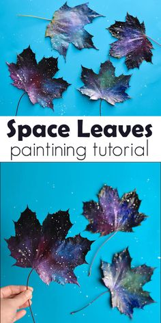 Have you tried painting leaves? These space leaves look as if they blew in on a cosmic wind, but it is in fact a simple autumn art project.
