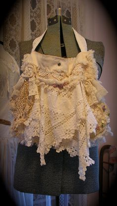 Cottage Shabby Purse, romantic layers of lace and doilies, handmade by Dede of TatteredDelicates