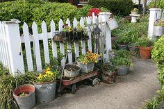 cottag idea, picket fences, buckets, bucket garden, farm stand
