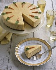 Rich cheesecake topped with marzipan carrots takes warm spices and cream cheese icing (carrot cakes best features) and reinvents them.
