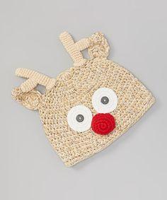 Tan Reindeer Crochet Beanie   #crochet #inspiration