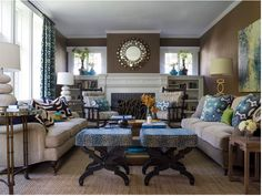 transitional living room example -- blues pattern bamboo regency gold boho modern contemporary traditional combo interior design home decor