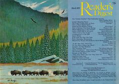 """Reader's Digest front and back cover, March 1977  Illustration: """"Bison on the Move"""" by Ed Bierly  Check out more of his wildlife paintings and a biography of his life here."""