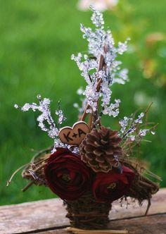 Rustic Flower Girl Basket, Woodland wedding inspiration, Valentines day decor ideas#valentines day