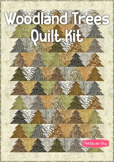 Woodland Trees Quilt Kit Featuring Stonehenge by Linda Ludovico - Fat Quarter Shop