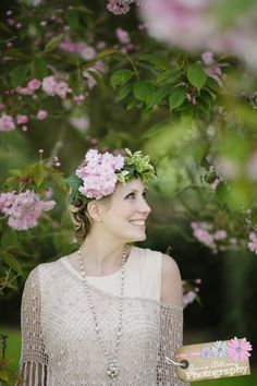 Hair and makeup by Jennifer's Dressing Table, floral crown by BareBlooms. www.gemmawilliamsphotography.co.uk