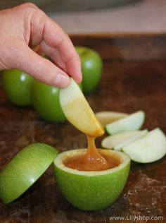 Caramel filled apples - this would be great for a halloween party