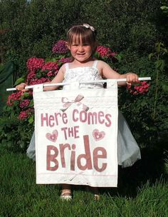 Shabby Chic 'Here Comes the Bride' Wedding Banner for by SwinkyDoo, Etsy.com