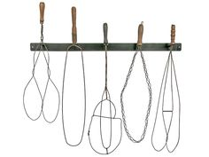 Set of Five Vintage Rug Beaters With Wall Display Rack  at Relique