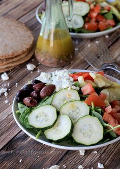 Mediterranean Salad with Homemade Greek Vinaigrette | Salad Recipes