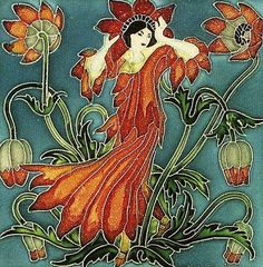 'Anemone' tile, from - Flora's Retinue set - by Walter Crane, for Pilkington Tile & Pottery Co (1900's)