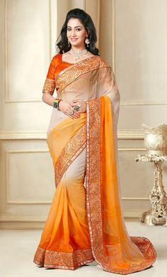 Serene Shaded Orange and Off White Saree