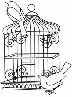 from urban threads birds and cage - embroidery pattern