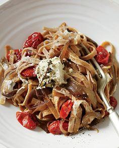 Spelt Ribbon Pasta with Marinated Feta and Grape Tomatoes