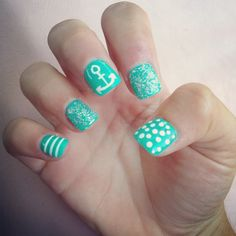 We can get our nails done like this to match our nautical themed tank tops for the bachelorette weekend! LOL